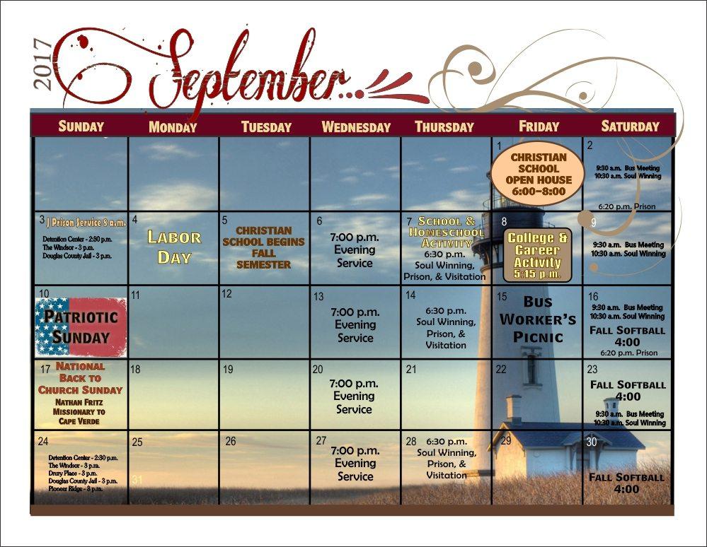 Bulletin Calendar - September 2017