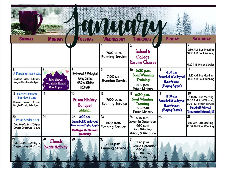 January bulletin calendar