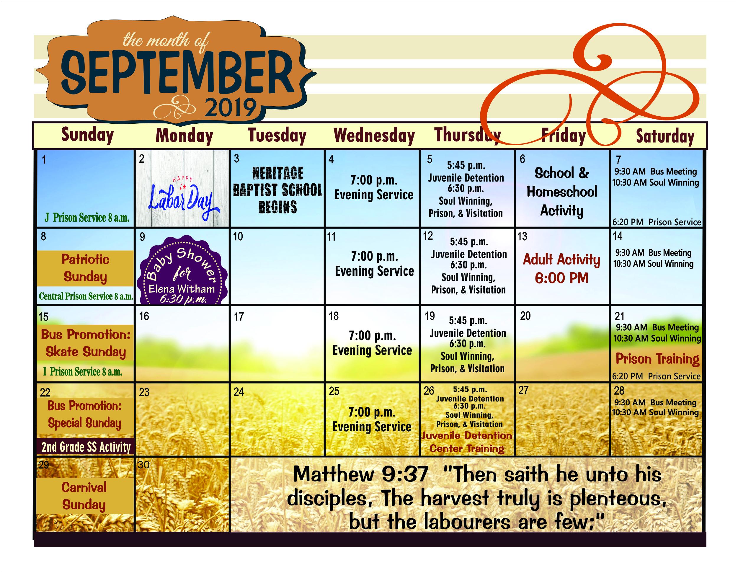 September bulletin calendar