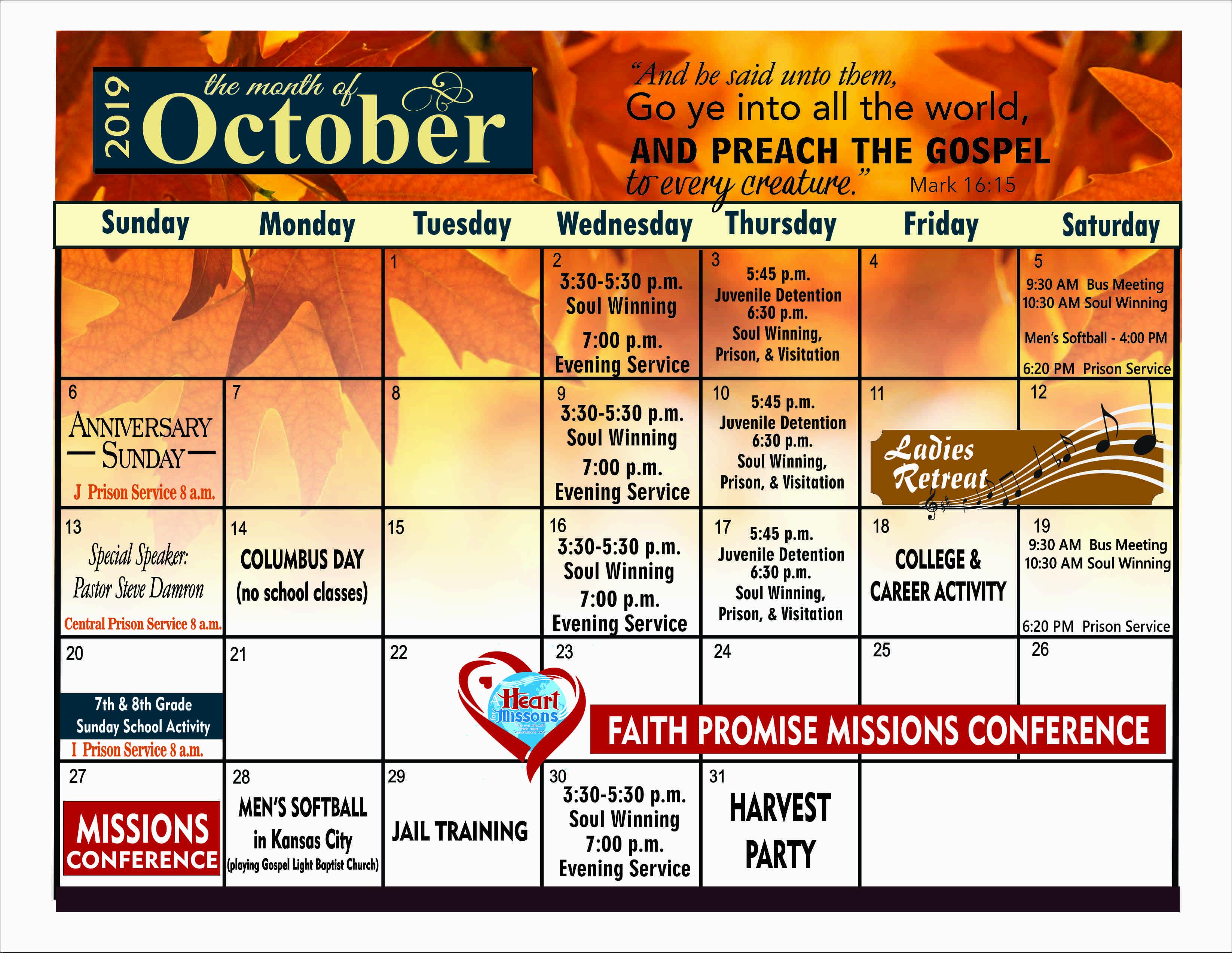 Bulletin Calendar